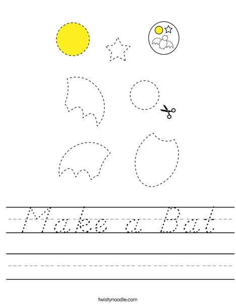 Make a Bat Worksheet - D'Nealian - Twisty Noodle