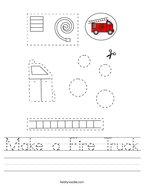 Make a Fire Truck Handwriting Sheet