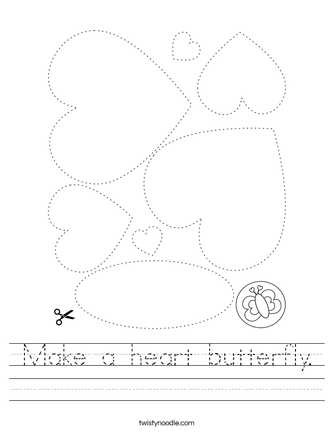 Make a heart butterfly. Worksheet