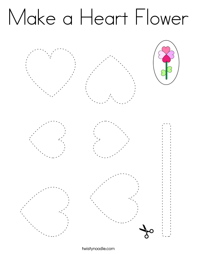 Make a Heart Flower Coloring Page