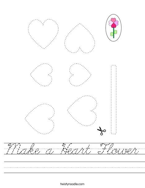 Make a Heart Flower Worksheet