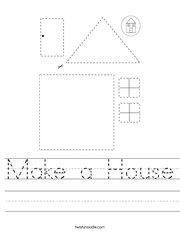 Make a House Handwriting Sheet