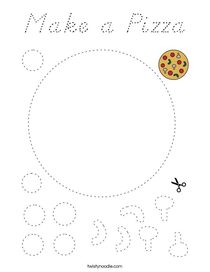 Make a Pizza Coloring Page - D'Nealian - Twisty Noodle