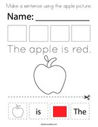 Make a sentence using the apple picture Coloring Page