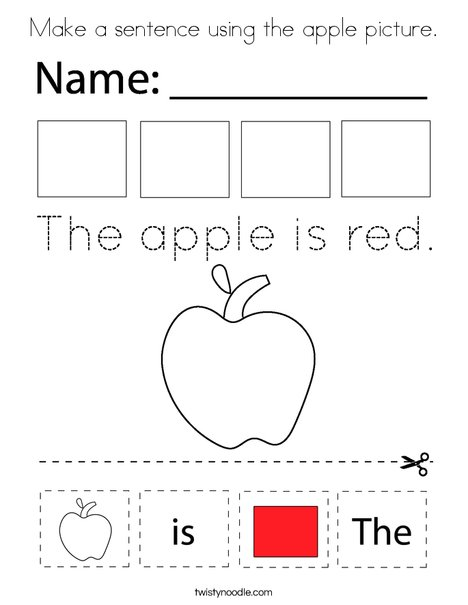 Make a sentence using the apple picture. Coloring Page