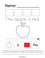 Make a sentence using the apple picture Handwriting Sheet