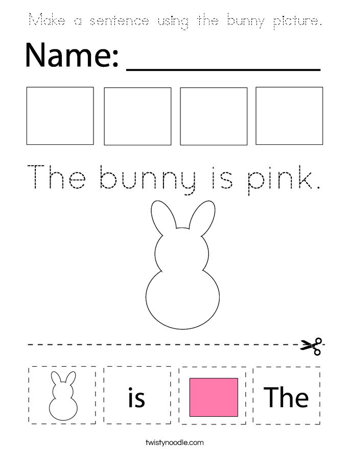 Make a sentence using the bunny picture. Coloring Page