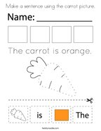 Make a sentence using the carrot picture Coloring Page