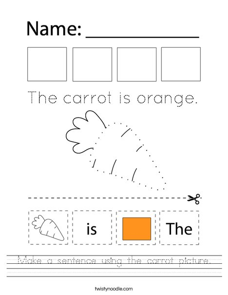 Make a sentence using the carrot picture. Worksheet