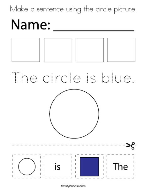 Make a sentence using the circle picture. Coloring Page