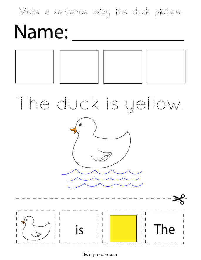 Make a sentence using the duck picture. Coloring Page