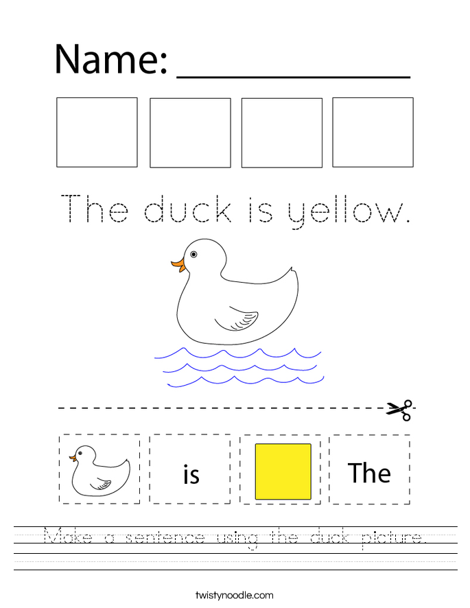 Make a sentence using the duck picture. Worksheet