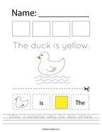 Make a sentence using the duck picture Handwriting Sheet