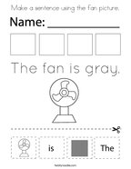 Make a sentence using the fan picture Coloring Page
