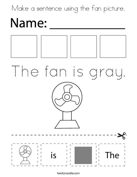 Make a sentence using the fan picture. Coloring Page