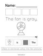 Make a sentence using the fan picture Handwriting Sheet