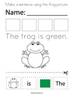 Make a sentence using the frog picture Coloring Page