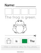 Make a sentence using the frog picture Handwriting Sheet