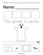 Make a sentence using the ghost picture Coloring Page