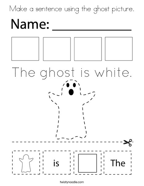 Make a sentence using the ghost picture. Coloring Page