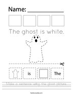 Make a sentence using the ghost picture Handwriting Sheet