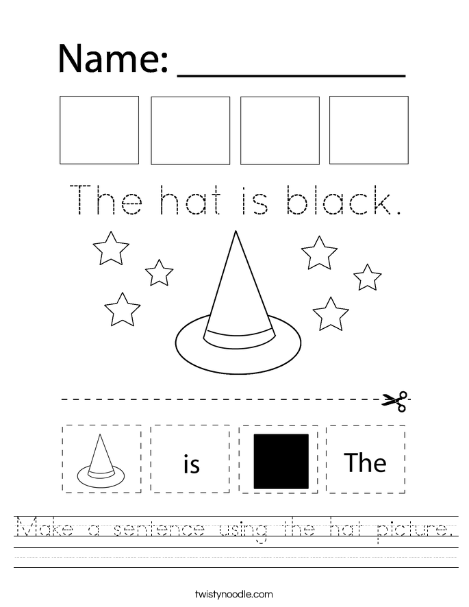 Make a sentence using the hat picture. Worksheet