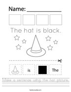 Make a sentence using the hat picture Handwriting Sheet