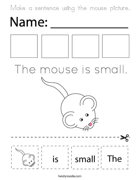 Make a sentence using the mouse picture. Coloring Page