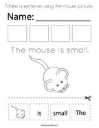 Make a sentence using the mouse picture Coloring Page