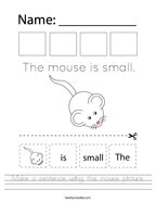 Make a sentence using the mouse picture Handwriting Sheet