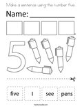 Make a sentence using the number five. Coloring Page