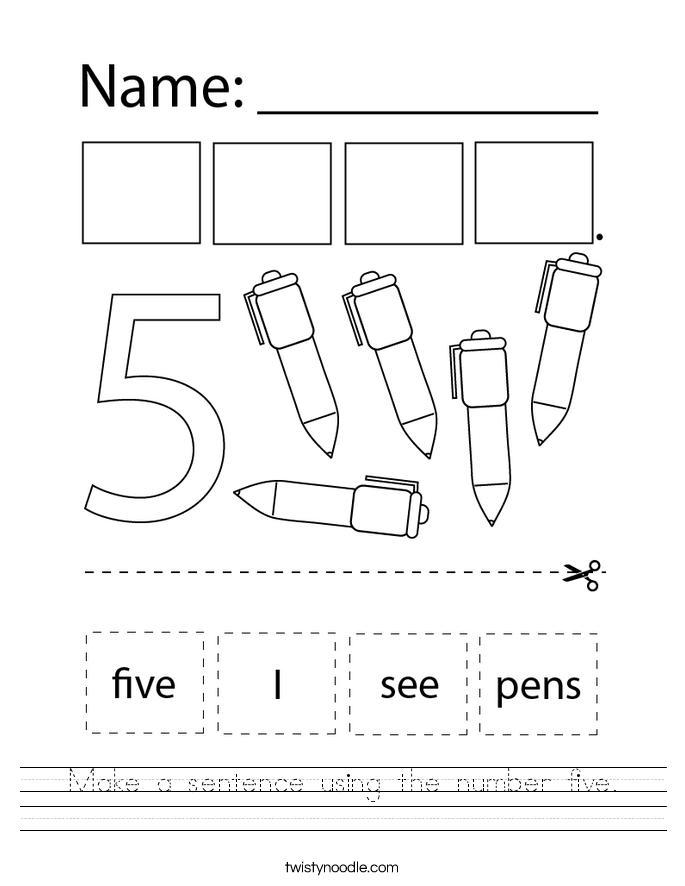 Make a sentence using the number five. Worksheet