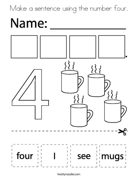 Make a sentence using the number four. Coloring Page