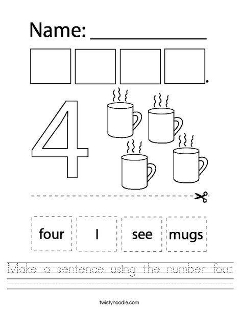 Make a sentence using the number four. Worksheet