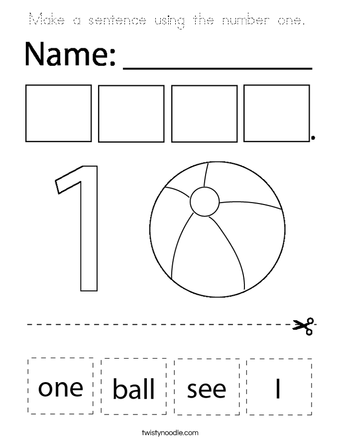 Make a sentence using the number one.  Coloring Page