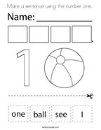 Make a sentence using the number one  Coloring Page