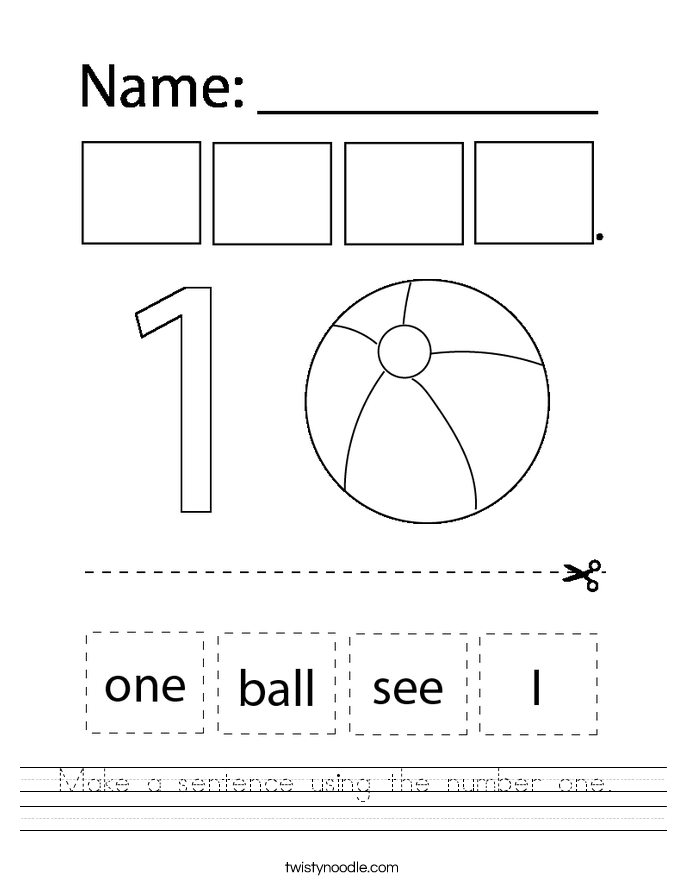 Make a sentence using the number one.  Worksheet