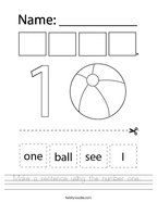 Make a sentence using the number one  Handwriting Sheet
