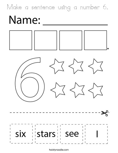 Make a sentence using the number six. Coloring Page