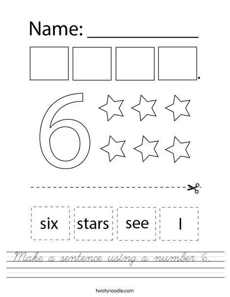 Make a sentence using the number six. Worksheet