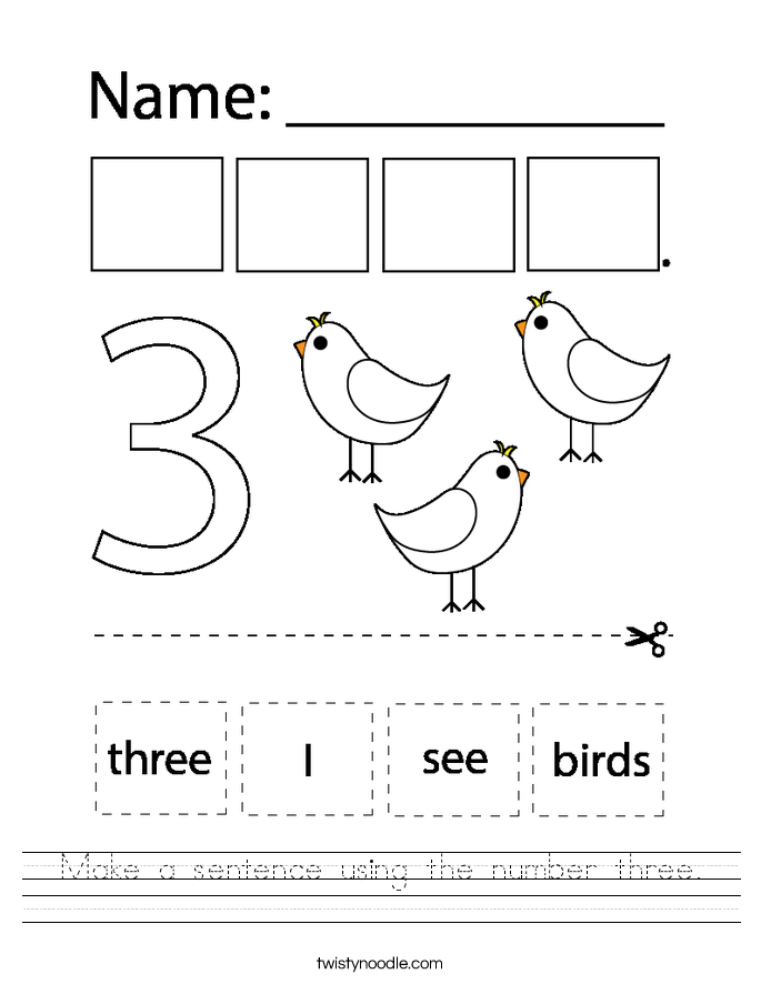 Make a sentence using the number three. Worksheet