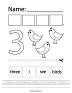 Make a sentence using the number three Handwriting Sheet