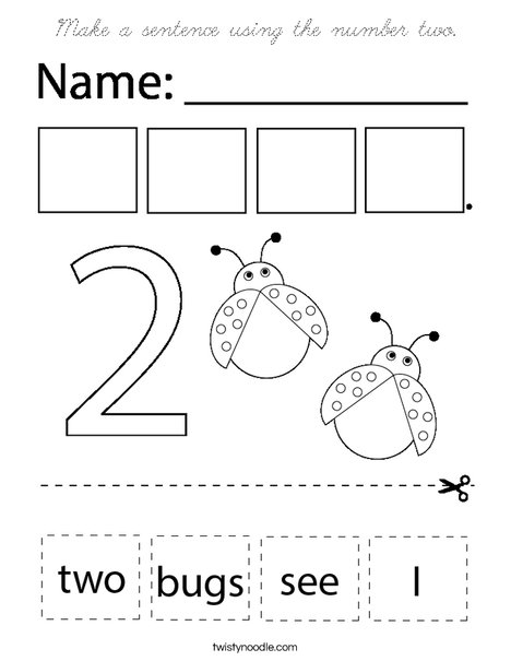 Make a sentence using the number two. Coloring Page
