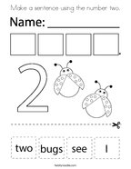 Make a sentence using the number two Coloring Page