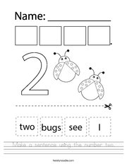 Make a sentence using the number two Handwriting Sheet