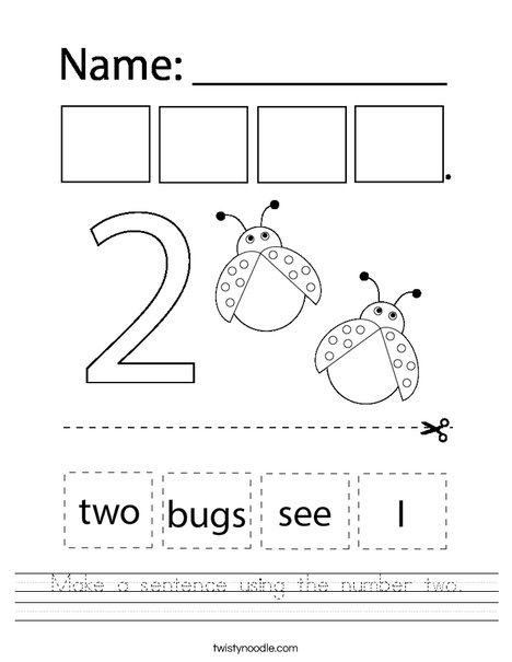 Make a sentence using the number two. Worksheet