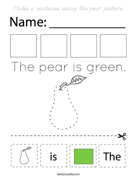 Make a sentence using the pear picture. Coloring Page