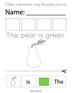 Make a sentence using the pear picture Coloring Page