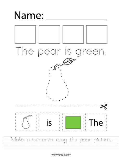 Make a sentence using the pear picture. Worksheet