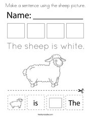 Make a sentence using the sheep picture Coloring Page